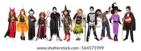 Kids with face-paint and Halloween costumes isolated in white Royalty-Free Stock Photo #564571999