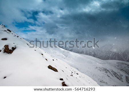 Beautifull winter in Georgia. Snowy mountain #564716293