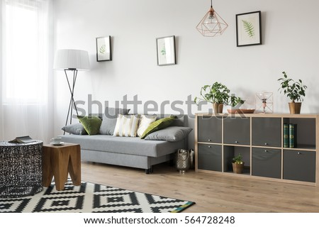 Bright living room interior with couch