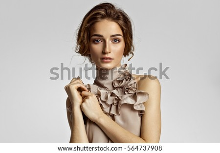 Beauty portrait of female model with natural skin #564737908