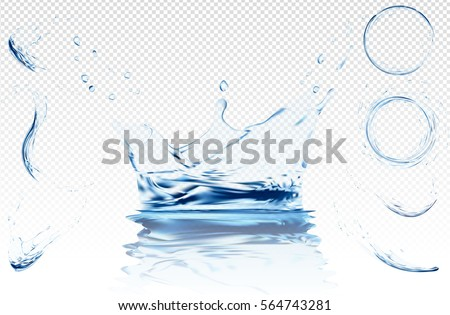 Water splash isolated on transparent background. blue realistic aqua circle with drops. top view. 3d illustration. semitransparent liquid surface backdrop created with gradient mesh tool. #564743281