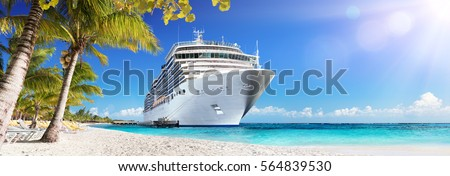 Cruise To Caribbean With Palm Trees - Tropical Beach Holiday  Royalty-Free Stock Photo #564839530