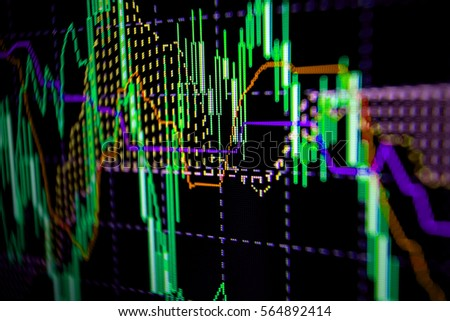 Abstract financial trading graphs on monitor. Background with currency bars and candles #564892414