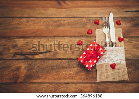 Vintage Valentines day table setting with gift  #564896188