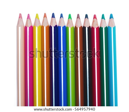 Color pencils isolated on white background #564957940