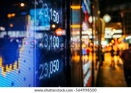 Display of Stock market quotes with city scene reflect on glass #564998500