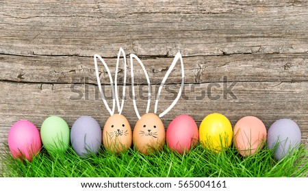 Easter eggs cute bunny. Funny decoration. Happy Easter Royalty-Free Stock Photo #565004161