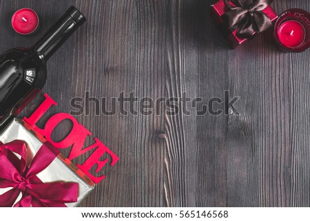 concept Valentine Day love wooden background top view mock up #565146568