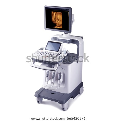 Portable Ultrasound Machine Isolated on White Background. Medical Diagnostic Equipment. Clipping Path #565420876