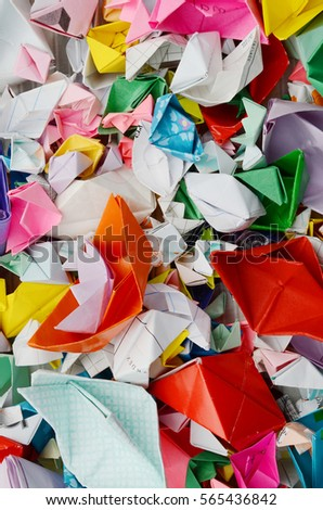Origami ships (paper boat) background #565436842