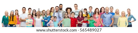 diversity, race, ethnicity and people concept - international group of happy smiling men and women over white background #565489027