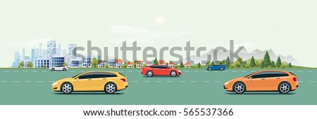 Flat vector cartoon style illustration of urban landscape street with cars, skyline city office buildings, family houses in small town and mountain with green trees in background. Cars on the road.  Royalty-Free Stock Photo #565537366