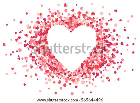 Heart shape vector pink confetti splash with white heart frame inside #565644496