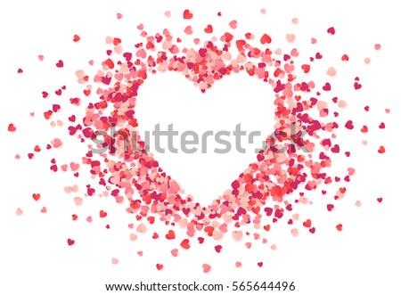 Heart shape vector pink confetti splash with white heart frame inside