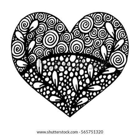 Hand drawn heart with ornament isolated. Vector illustration #565751320