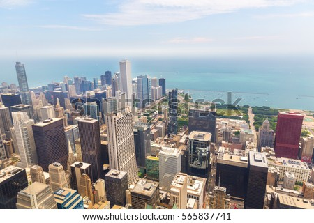 Cityscape view of Chicago at foggy morning