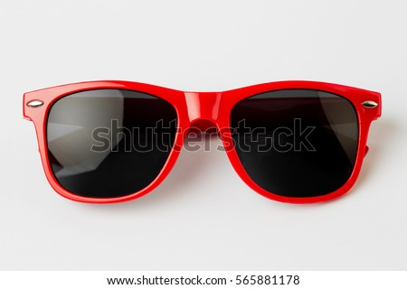 Cool sunglasses isolated on white background, top view. Royalty-Free Stock Photo #565881178