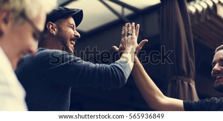 Men Hands High Five Meeting Greeting Royalty-Free Stock Photo #565936849