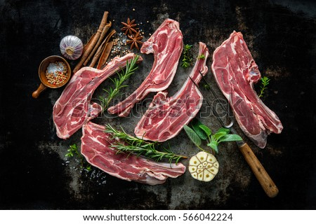 Raw fresh lamb meat and fork on dark background #566042224