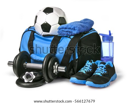 Sports bag with sports equipment isolated on white with clipping path Royalty-Free Stock Photo #566127679