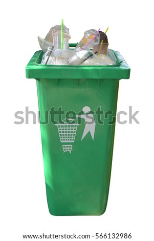 Green plastic trash isolated on white background. This has clipping path.