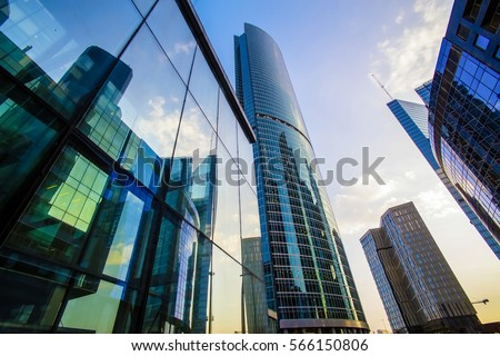 High rise buildings of Moscow business center Moscow - city Royalty-Free Stock Photo #566150806