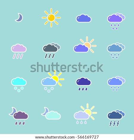 set with different weather icons cloud, sun, moon, rain snow drops #566169727