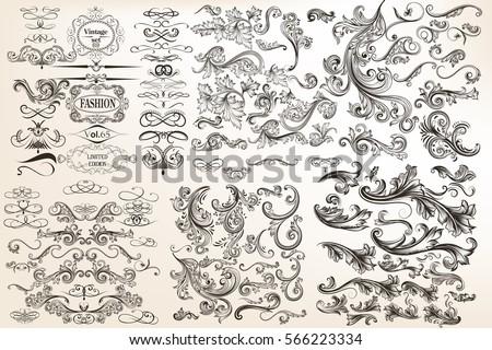 Huge mega collection of vector decorative flourishes for design