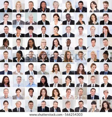 Collage Of Diverse Multi-ethnic And Mixed Age Smiling Business People Team