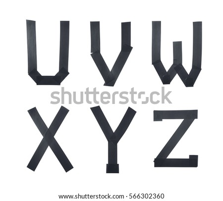 Set of U, V, W, X, Y, Z letter symbols made of insulating tape isolated over the white background