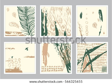 Vector hand drawn set of creative card. Ink grunge design for cover. Isolated brush stroke abstract print. Vintage painted background. #566325655