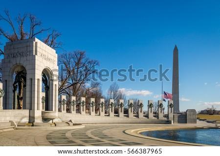 World War II Memorial and Washington Monument - Washington, D.C., USA #566387965