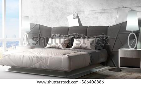 Modern bright interior . 3D rendering #566406886