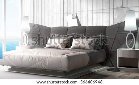 Modern bright interior . 3D rendering #566406946