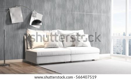Modern bright interior . 3D rendering #566407519