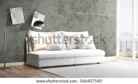 Modern bright interior . 3D rendering #566407540