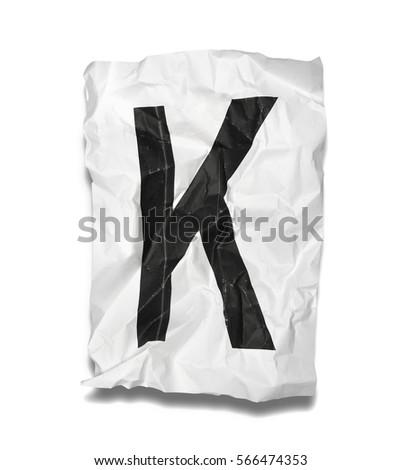 crumpled paper alphabet on white background #566474353
