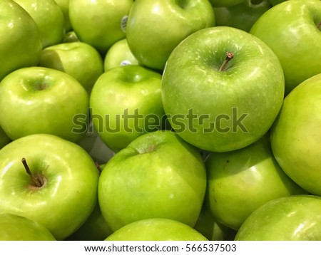 Close up beautiful green apple, testy and healthy fruit. #566537503