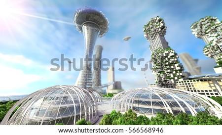 concept future city skyline. Futuristic business vision concept. 3d illustration Royalty-Free Stock Photo #566568946