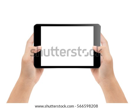 mock-up black digital tablet in hand isolated on white background with clipping path inside #566598208