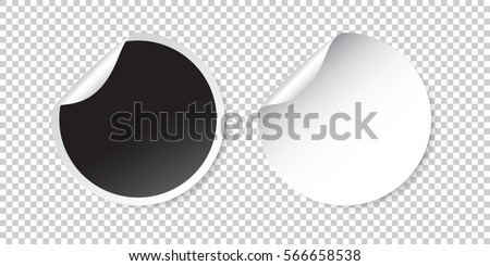 Set of blank stickers. Empty promotional labels. Vector illustration. Black and white round circle tags. #566658538