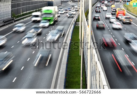 Six lane controlled-access highway in Poland. #566722666