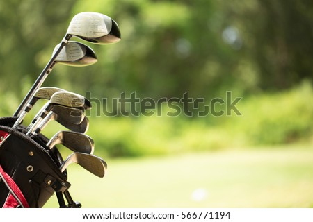 Golf clubs at a golf resort. Royalty-Free Stock Photo #566771194