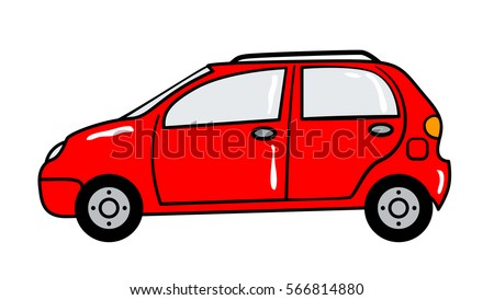 Car cartoon sticker in retro style on white background, vector illustration for travel theme.