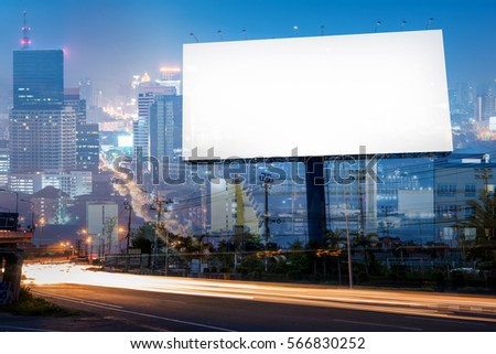 Double exposure of blank billboard for business advertisement with city background at twilight  #566830252