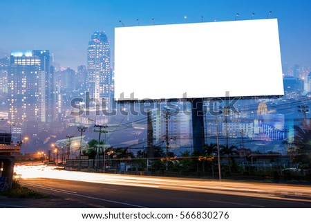 Double exposure of blank billboard for business advertisement with city background at twilight  #566830276