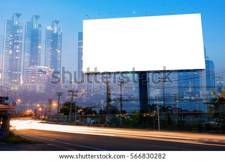 Double exposure of blank billboard for business advertisement with city background at twilight  #566830282