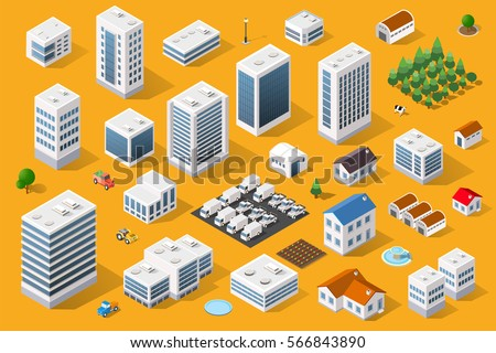 Cityscape design elements with isometric building city map generator. 3D flat icon set. Isolated collection  for creating your perfect road, park, transport, trees, infrastructure Royalty-Free Stock Photo #566843890