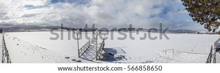 frozen Bazaleti lake, panorama, Dusheti, Georgia. #566858650