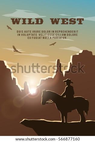 Silhouette of cowboy on the background of the wild west. Poster, vector background.